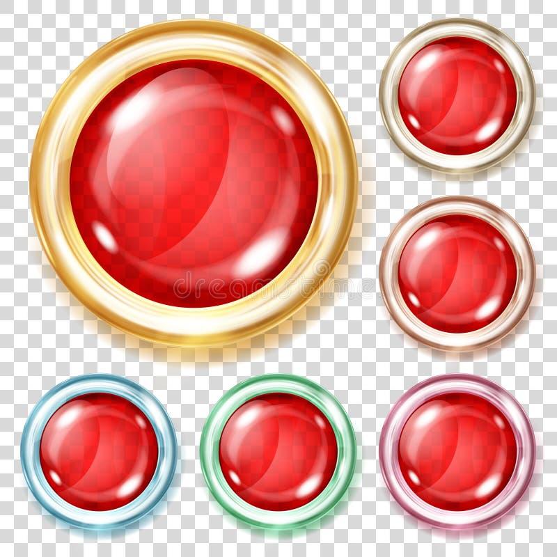 Röda genomskinliga exponeringsglasknappar stock illustrationer