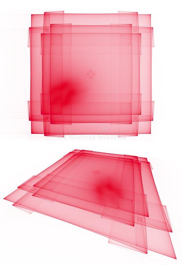 Röda genomskinliga i lager fyrkanter stock illustrationer