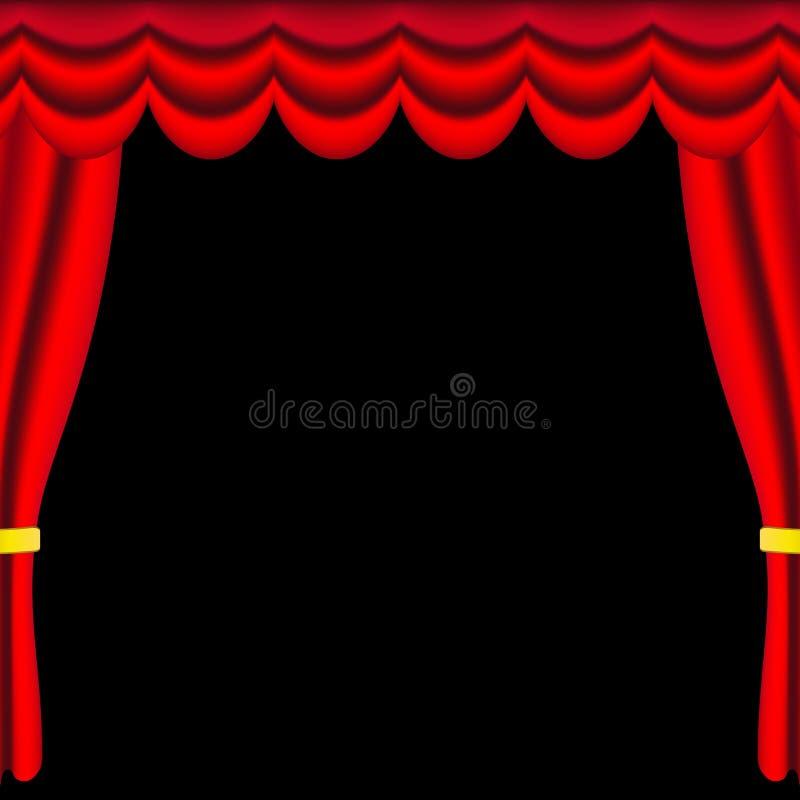 Röda georgeusgardiner och gardiner med guld- ribbens på svart bakgrund stock illustrationer