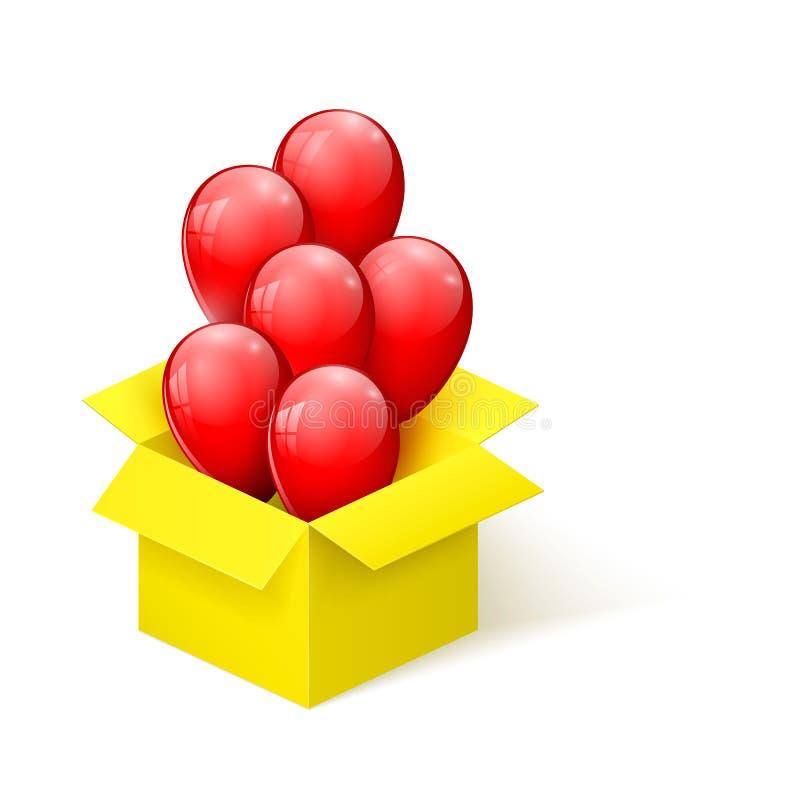 Röda glansiga ballonger som flyger ut ur en öppningsguling, boxas också vektor för coreldrawillustration stock illustrationer