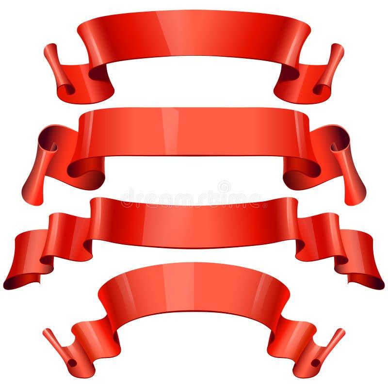 Röda glansiga band på en svart bakgrund stock illustrationer