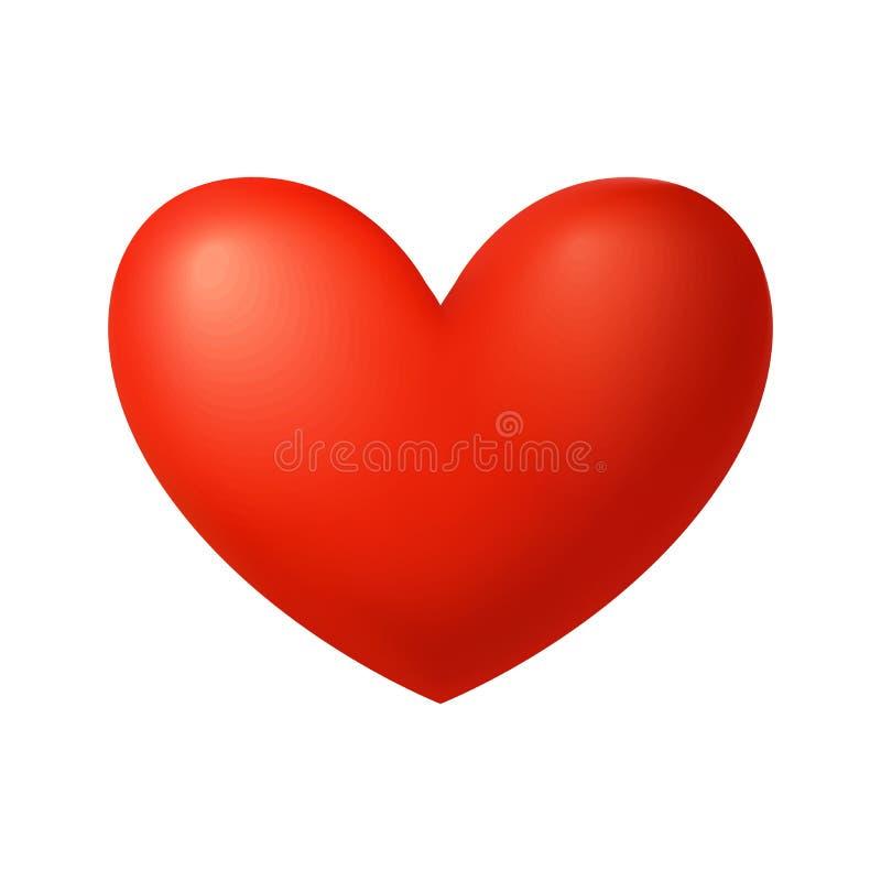 Röda glansiga hjärtavektorillustrationer Hjärtan som ett symbol av förälskelse vektor illustrationer