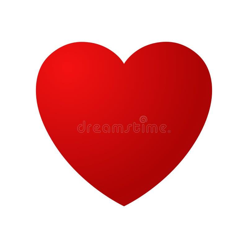Röda glansiga hjärtavektorillustrationer Hjärtan som ett symbol av förälskelse royaltyfri illustrationer