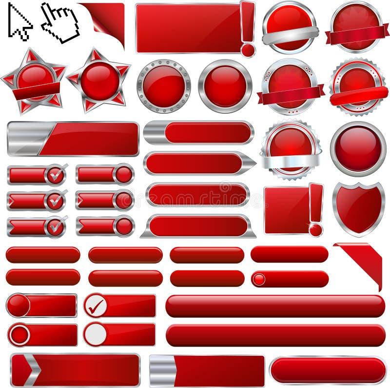 Röda glansiga rengöringsduksymboler och knappar royaltyfri illustrationer
