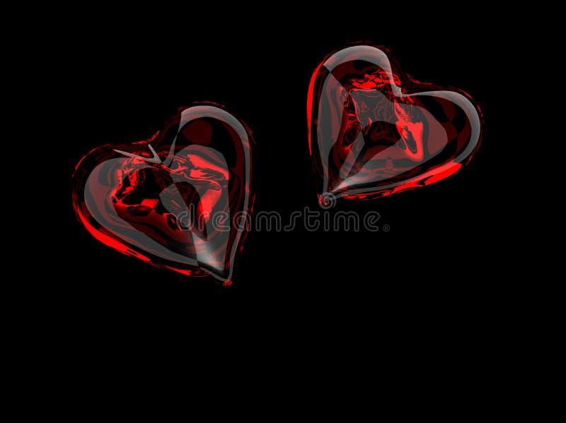 röda glass hjärtor royaltyfri foto
