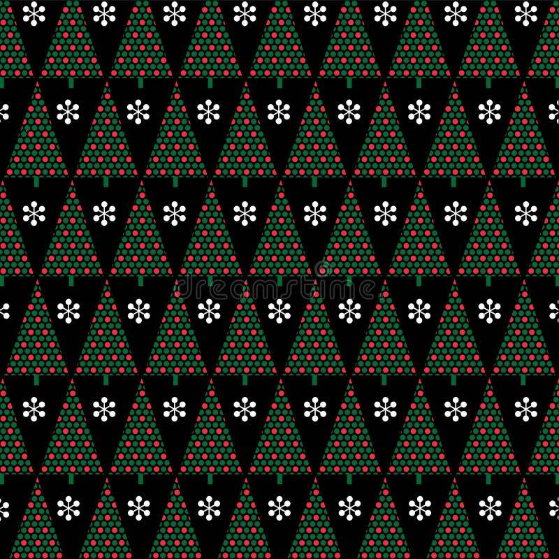 Röda gröna prickjulträd på svart bakgrund stock illustrationer