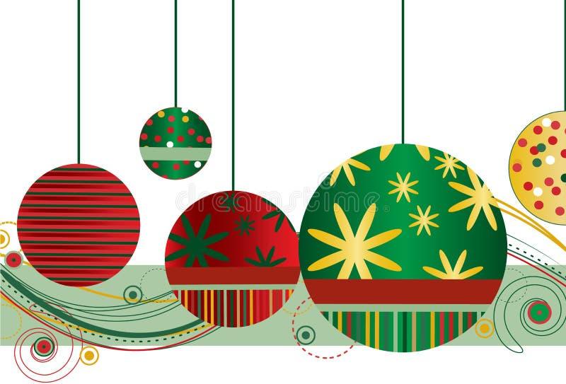 röda gröna prydnadar för jul stock illustrationer