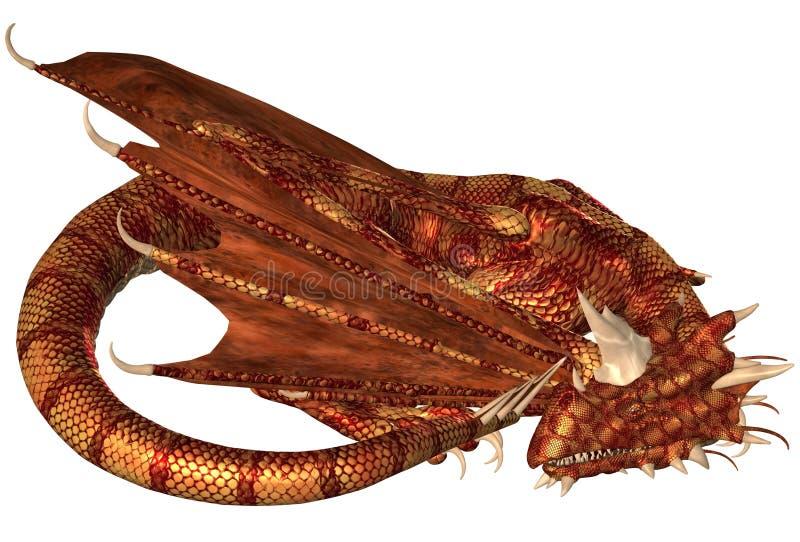 Röda graderade Dragon Sleeping stock illustrationer