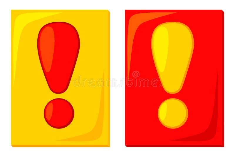 Röda gula uppmärksamhetkort för färgrik tecknad film royaltyfri illustrationer