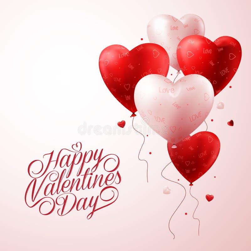 Röda hjärtaballonger som flyger med förälskelsemodellen och lycklig valentindagtext vektor illustrationer