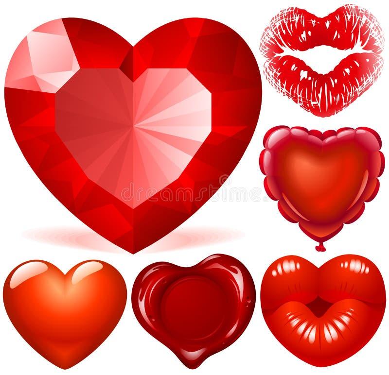 röda hjärtor vektor illustrationer