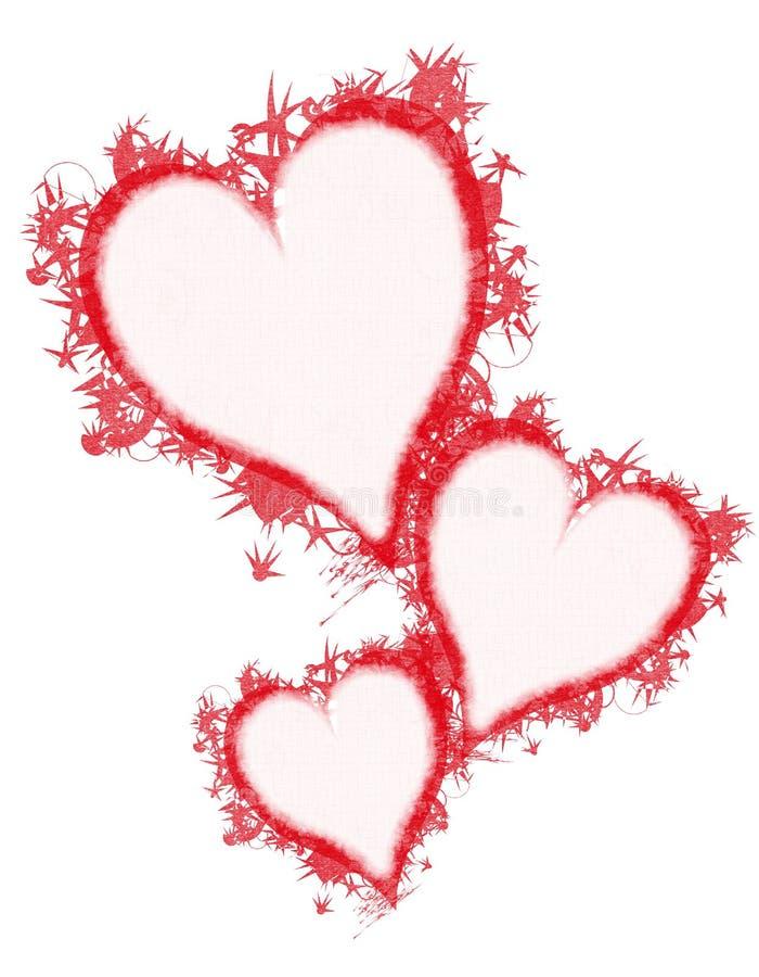 röda hjärtor för grunge för konstgemfjäder vektor illustrationer