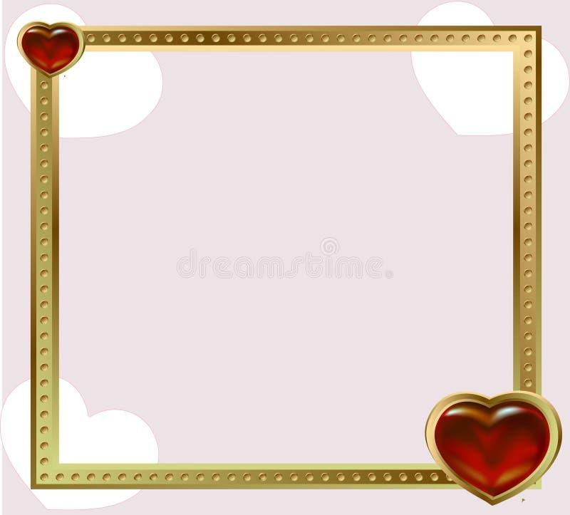 Röda hjärtor för guld- ramsmycken stock illustrationer