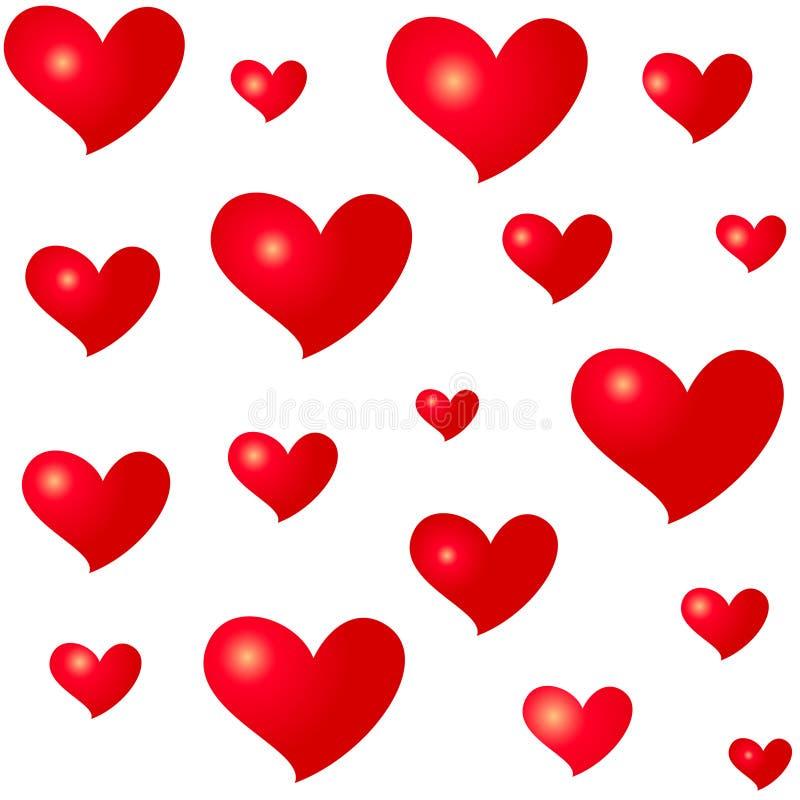 Röda hjärtor för olika format Isolerad sömlös modell på vit bakgrund Symbol av förälskelse och romans royaltyfri illustrationer