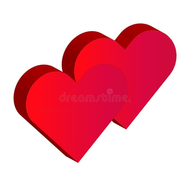 röda hjärtor för valentin som 3d isoleras på vit bakgrund stock illustrationer