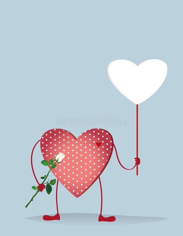 Röda hjärtor med ben Händer som rymmer den tomma tomma sidan vektor illustrationer