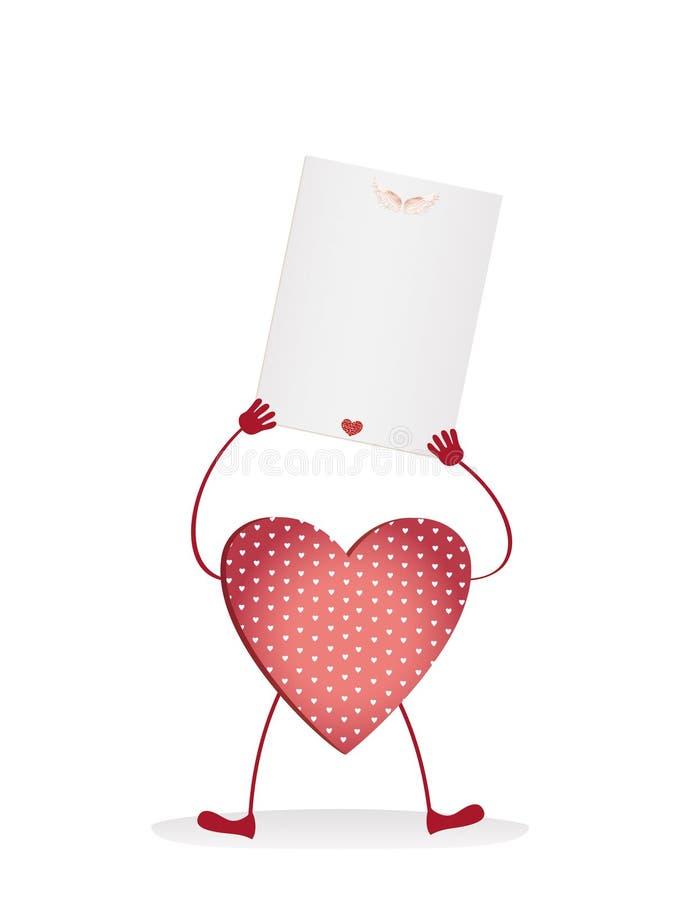 Röda hjärtor med ben och händer som rymmer den tomma tomma sidan royaltyfri illustrationer