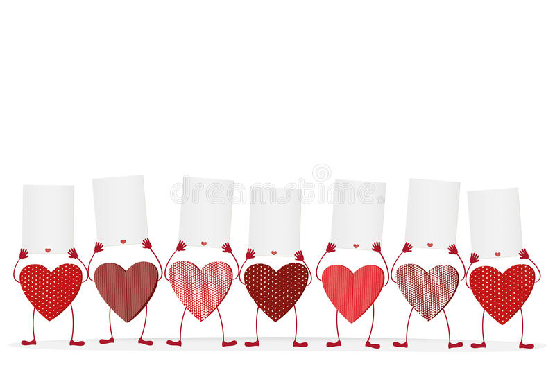 Röda hjärtor med ben och händer som rymmer tomma mellanrum royaltyfri illustrationer