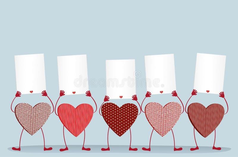 Röda hjärtor med ben och händer som rymmer tomma mellanrumssidor vektor illustrationer