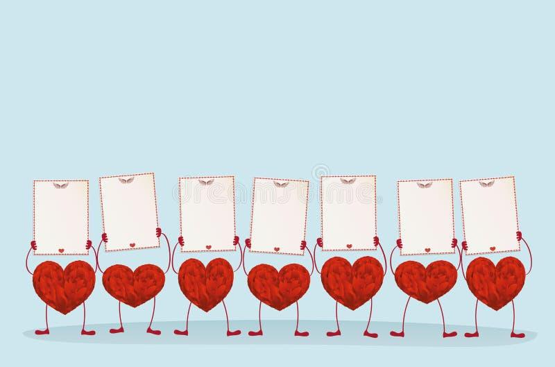 Röda hjärtor med ben och händer som rymmer tomma mellanrumssidor royaltyfri illustrationer