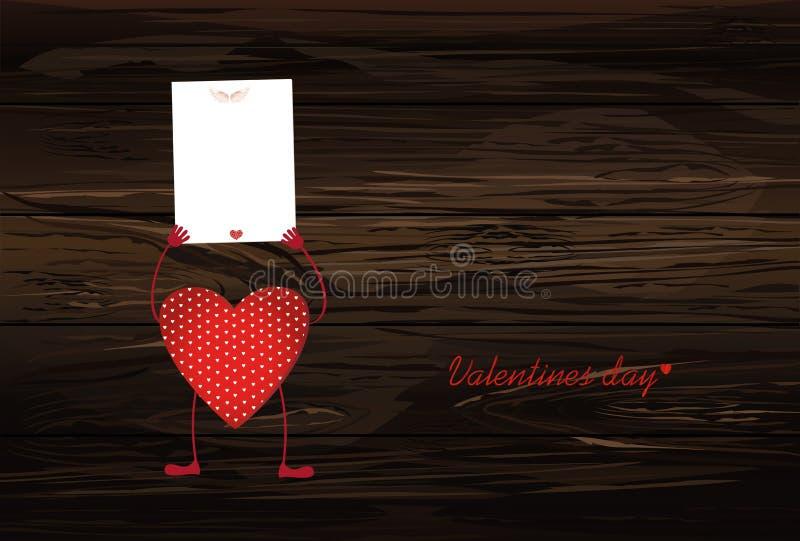Röda hjärtor med ben och händer som rymmer tomma mellanrumssidor för y vektor illustrationer
