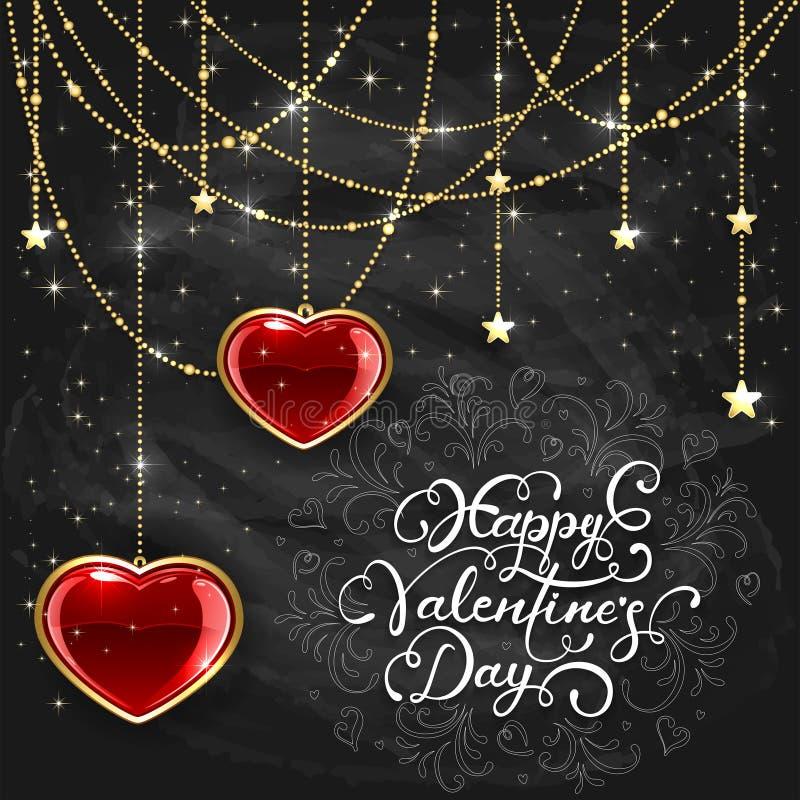 Röda hjärtor och valentin som märker på svart svart tavlabackgrou stock illustrationer