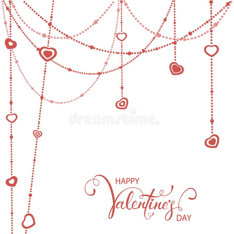 Röda hjärtor och valentin som märker på vit bakgrund stock illustrationer