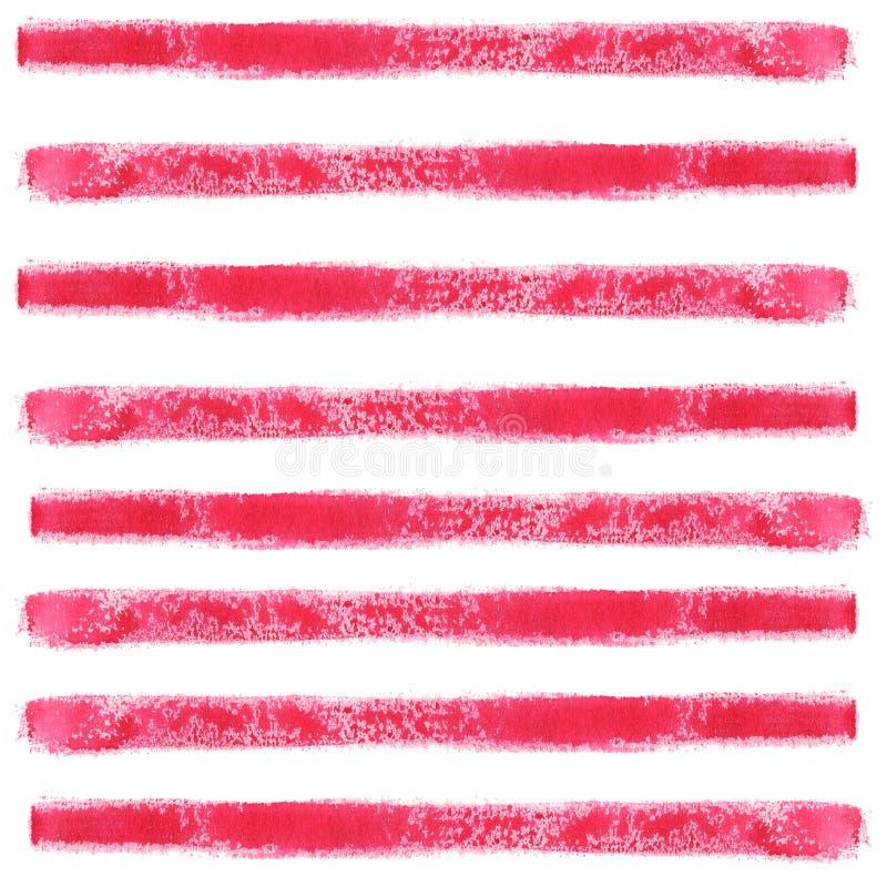 Röda horisontalband gjorde med ett penseldrag Abstrakt sömlös modell för vattenfärg vektor illustrationer