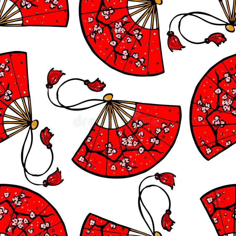 Röda japanfans stock illustrationer