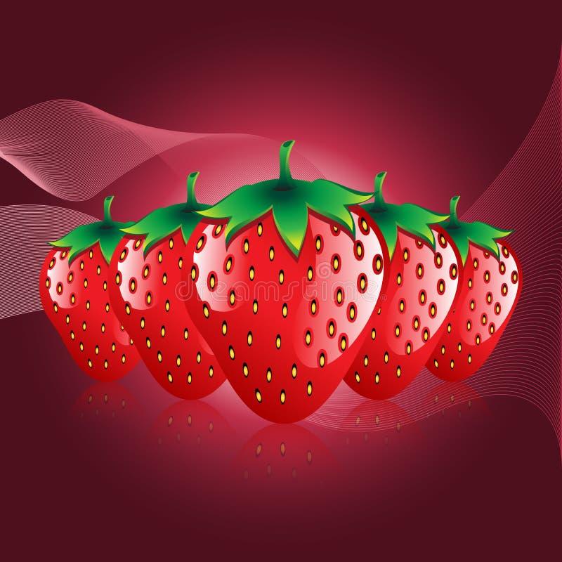 Röda jordgubbar bär frukt konturabstrakt begreppmodellen på bokah skuggad bakgrund vektor illustrationer