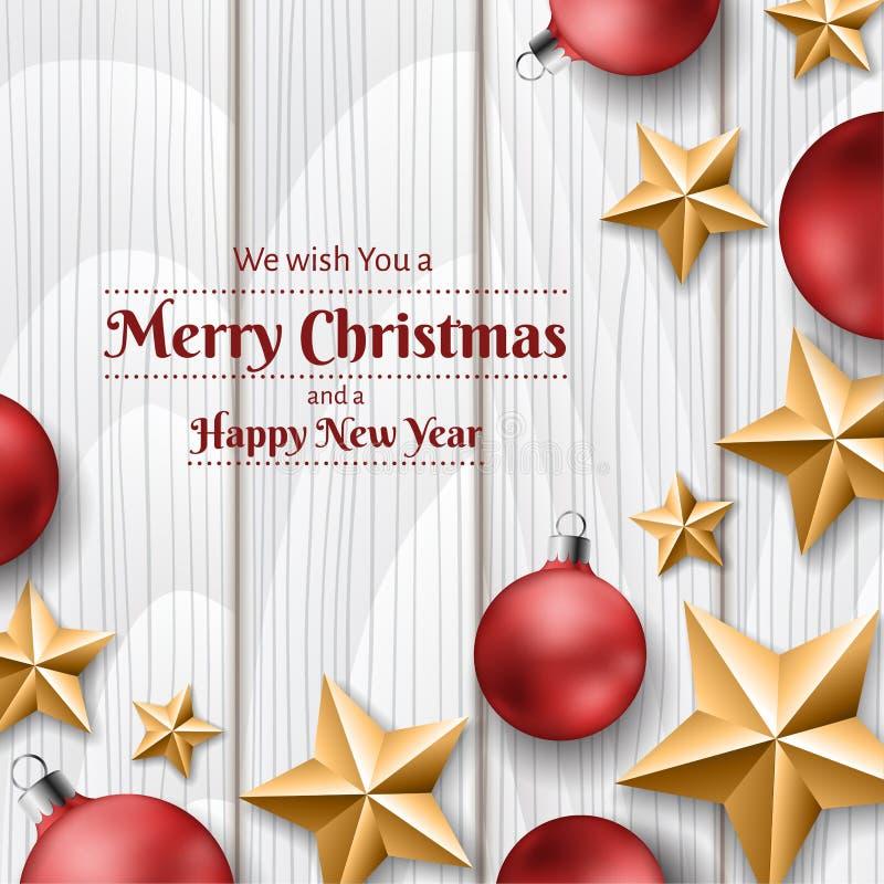 Röda julbollar och guld- stjärnor på vit wood textur, ram för jul royaltyfri illustrationer