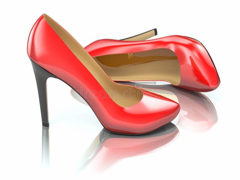 Röda kickhäl skor. 3d stock illustrationer