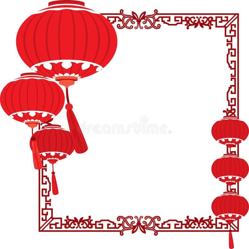 RÖDA kinesiska lyktagarneringar stock illustrationer