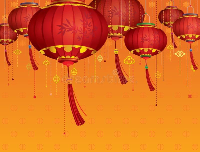 RÖDA kinesiska lyktagarneringar royaltyfri illustrationer