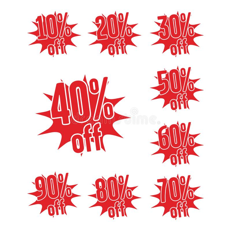 Röda klistermärkear, procentsats av rabatten från priset vektor illustrationer