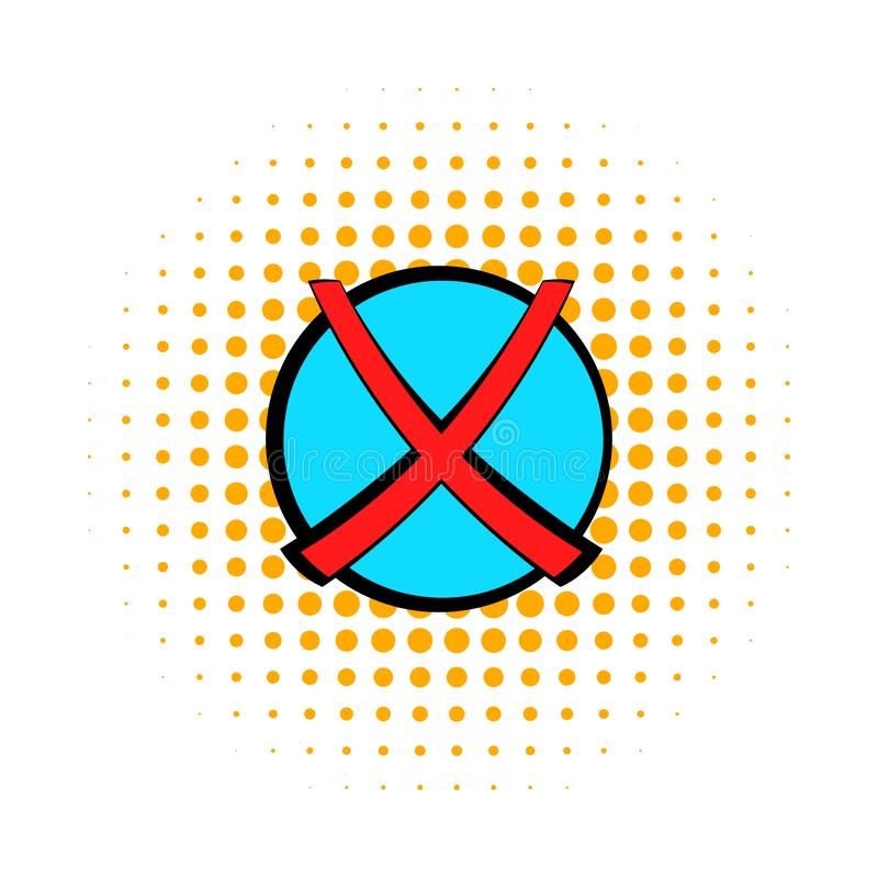 Röda korset symbolen för kontrollfläcken, komiker utformar royaltyfri illustrationer