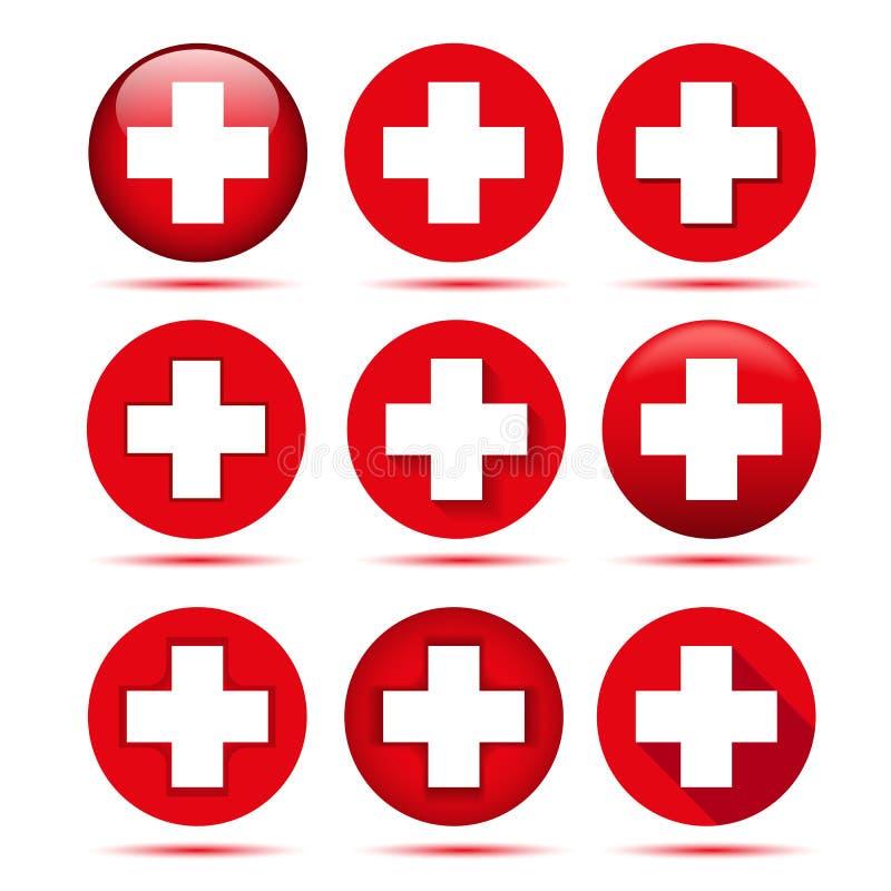 Röda korsetsymboler royaltyfri illustrationer