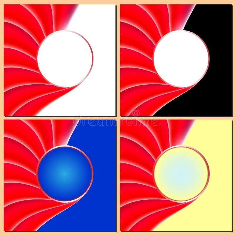 Röda krabba linjer, rund rörelse, abstrakt bakgrund för affär royaltyfri illustrationer