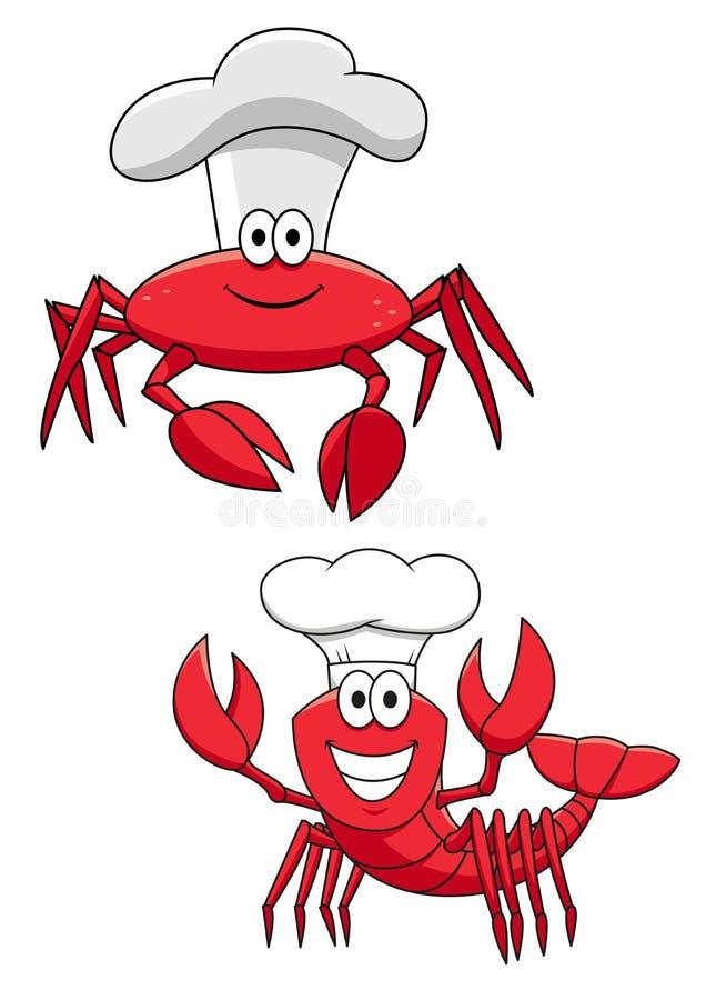 Röda krabba- och räkakockar för tecknad film i kockhattar royaltyfri illustrationer