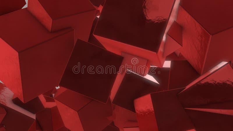 Röda kuber 3d arkivfoton