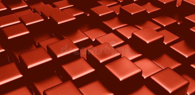 Röda kuber 3d skapade fyrkantiga kvarter stock illustrationer
