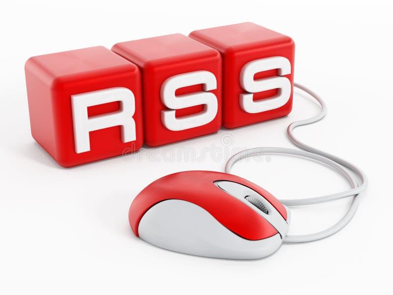 Röda kuber med RSS-bokstäver förband till datormusen stock illustrationer