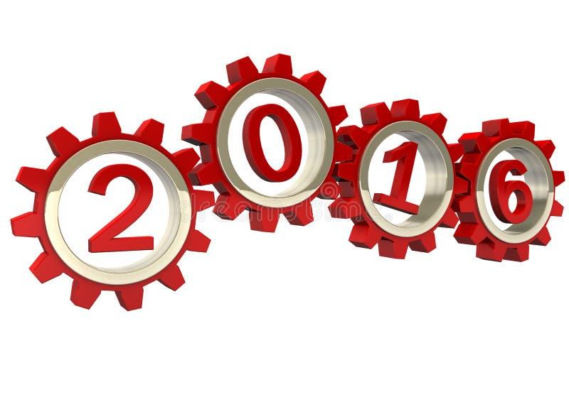 2016 röda kugghjul stock illustrationer