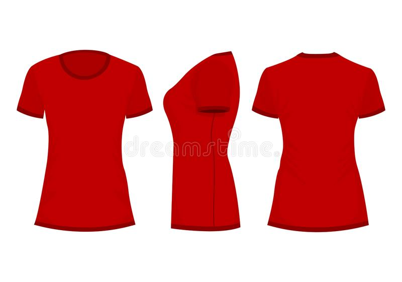 Röda kvinnas t-skjorta royaltyfri illustrationer