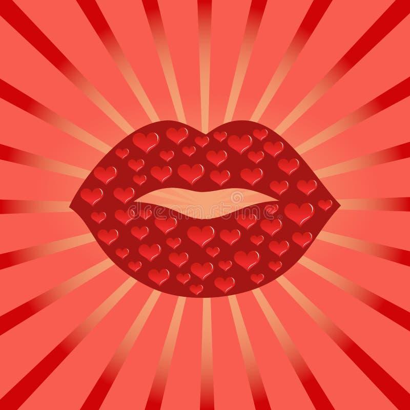 röda kyssande kanter stock illustrationer
