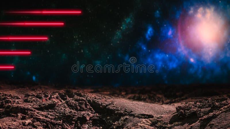 Röda laserstrålar över yttre rymdbakgrund arkivbilder