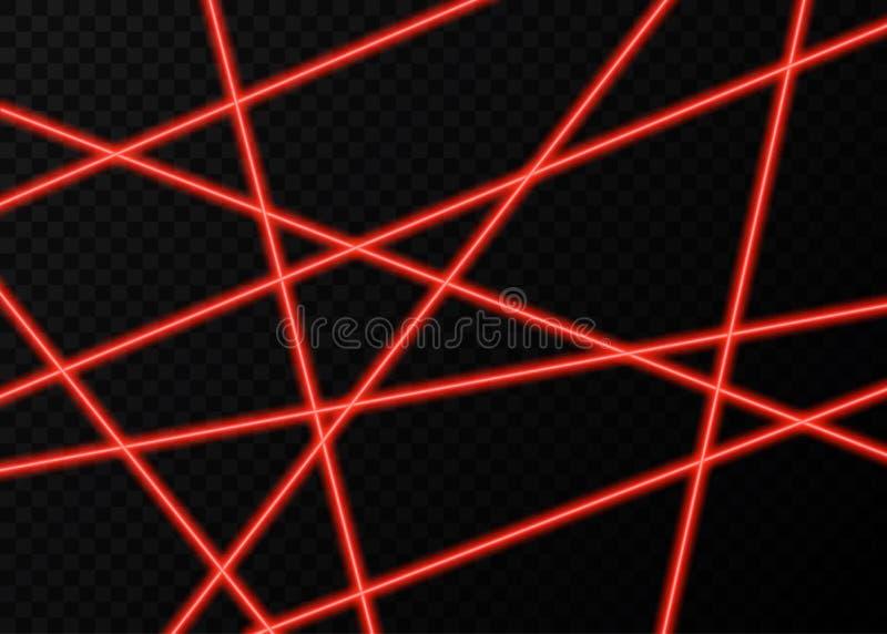 Röda laserstrålar med exponeringar av ljus på svart bakgrund vektor illustrationer