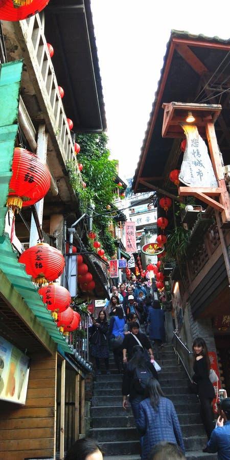 Röda lyktor i Jiufen, Taiwan arkivbild