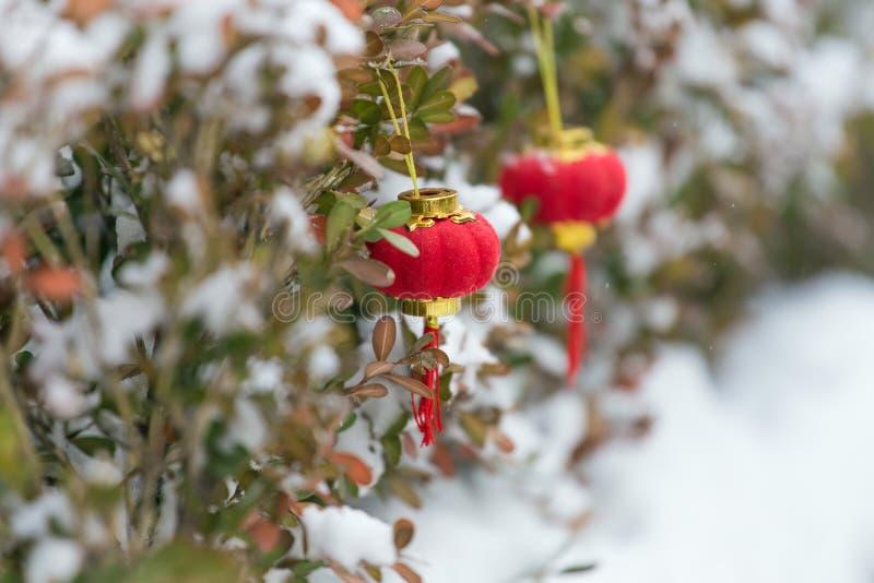 Röda lyktor i snön royaltyfri bild