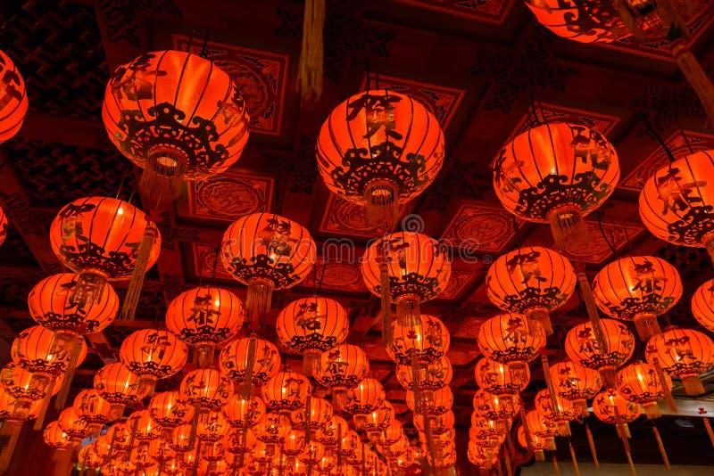Röda lyktor under för kinesisk festival för nytt år fotografering för bildbyråer